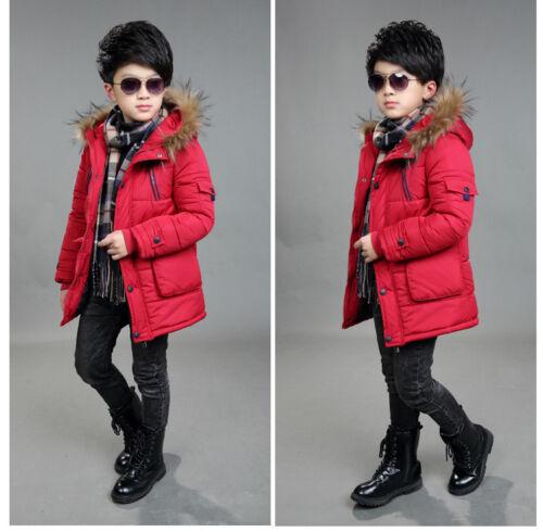 Warm Winter Kids Boys Hooded Warm Quilted Puffer Coat Jacket School Trendy Parka