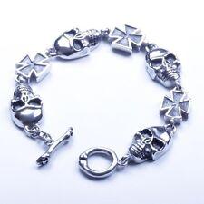 US Seller Men's Silver Stainless Steel Biker Skull Cross Bracelet SL01