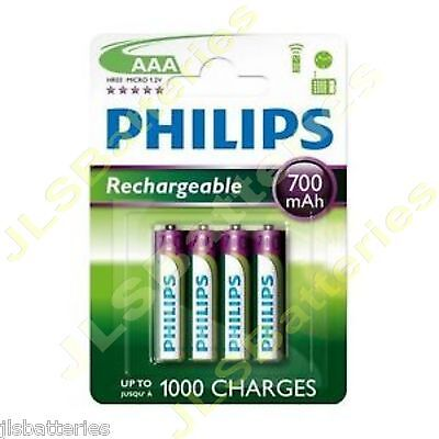 4 x Philips AAA Rechargeable Batteries 700 mAh phone 700mAh NiMh 1 x 4 pack HR03