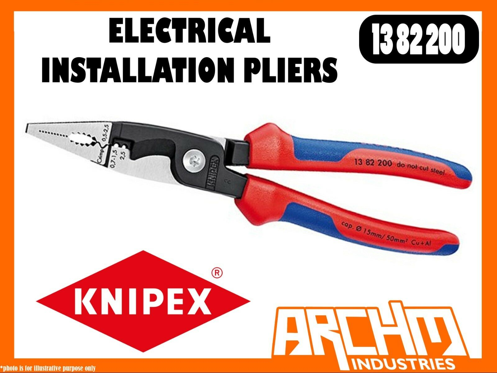 KNIPEX 1382200 - ELECTRICAL INSTALLATION PLIERS - 200MM CUTTING EDGES STEEL GRIP