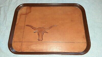 Vintage Bolta Leather Longhorn Head Serving Tray Hand Tooled Made In Usa Ebay