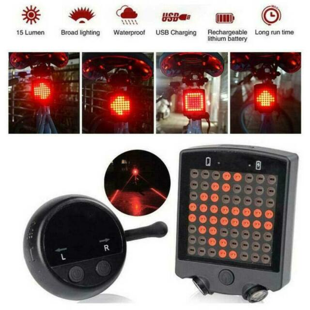 Rechargeable Bike Cycling Bicycle Laser Tail Turn Brake Signal Light Indicator ^