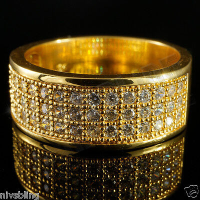 18K Gold Iced Out BAND HipHop Bling Engagement MICROPAVE CZ Pinky Men Women Ring