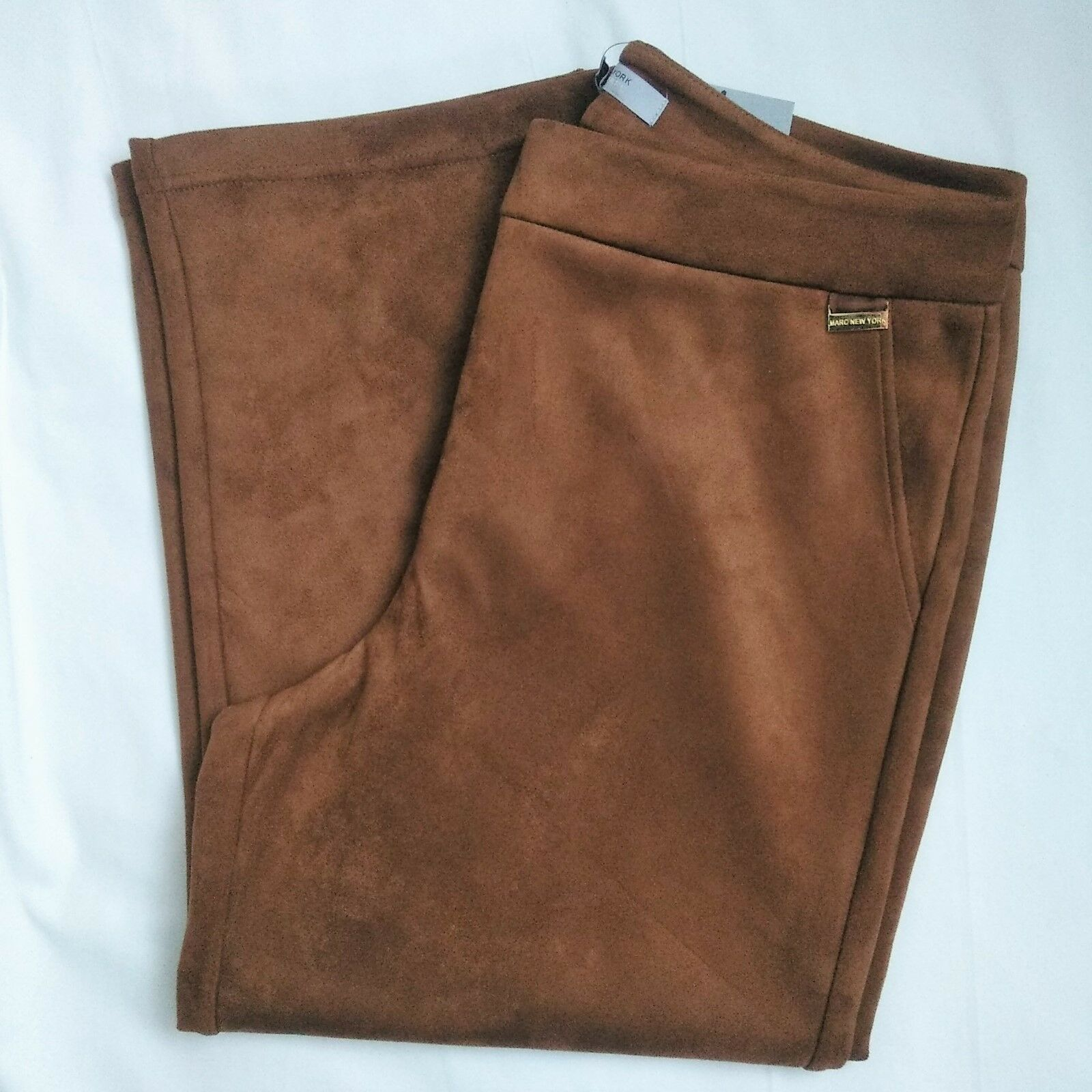 Marc New York Women's Casual Faux Suede Pants 8 Brown
