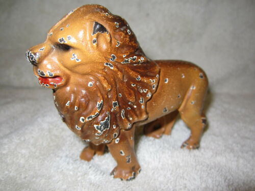 ANTIQUE ORIGINAL CAST IRON LION BANK