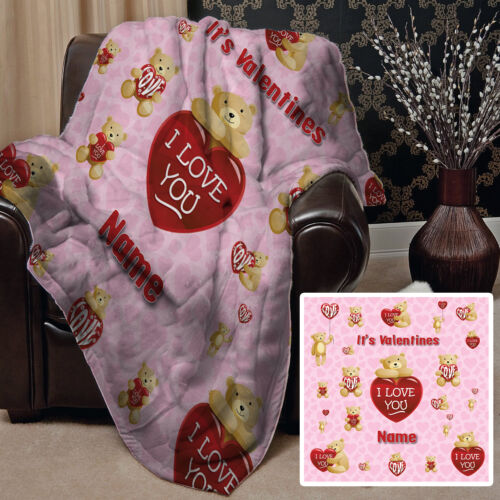 Large Warm Sofa Fleece Throw Personalised Pink Teddy Design Blanket Valentines