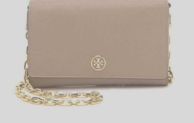 fb2021e8e878 NWT Tory Burch Robinson Leather CHAIN WALLET CROSSBODY CLUTCH French Grey  30%OFF