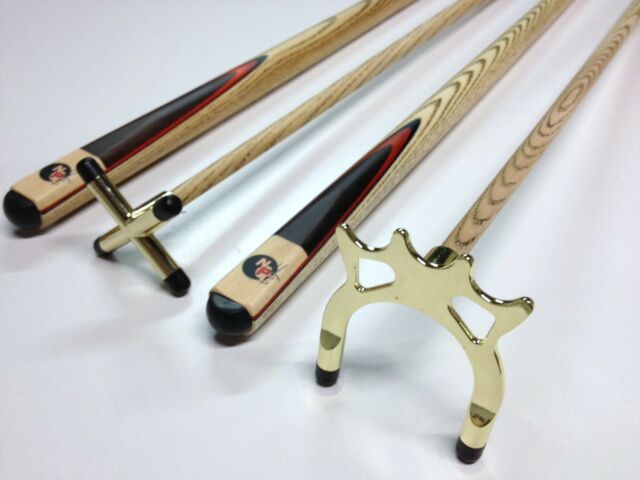 Full Ash WOODEN POOL SNOOKER BILLIARD BRASS Cue Rest & Spider SET