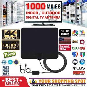 Antenna Digital HD TV Amplified Mile Ultra Thin 1000 Mile Range Indoor  1080P VHF | eBay