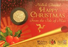 2011 Isle of Man Christmas 50p Fifty Pence Coin  Santa Claus in Gift Card BUNC