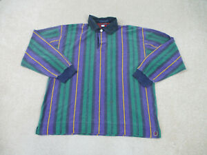 VINTAGE Tommy Hilfiger Polo Shirt Adult Extra Large Green Purple Crest Men 90s *