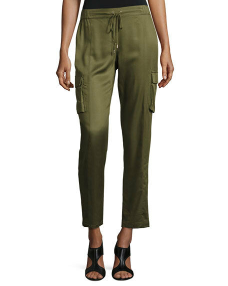 Laundry By Shelli Segal Luxe Drawstring Cargo Pants, Olive, NWT,  299