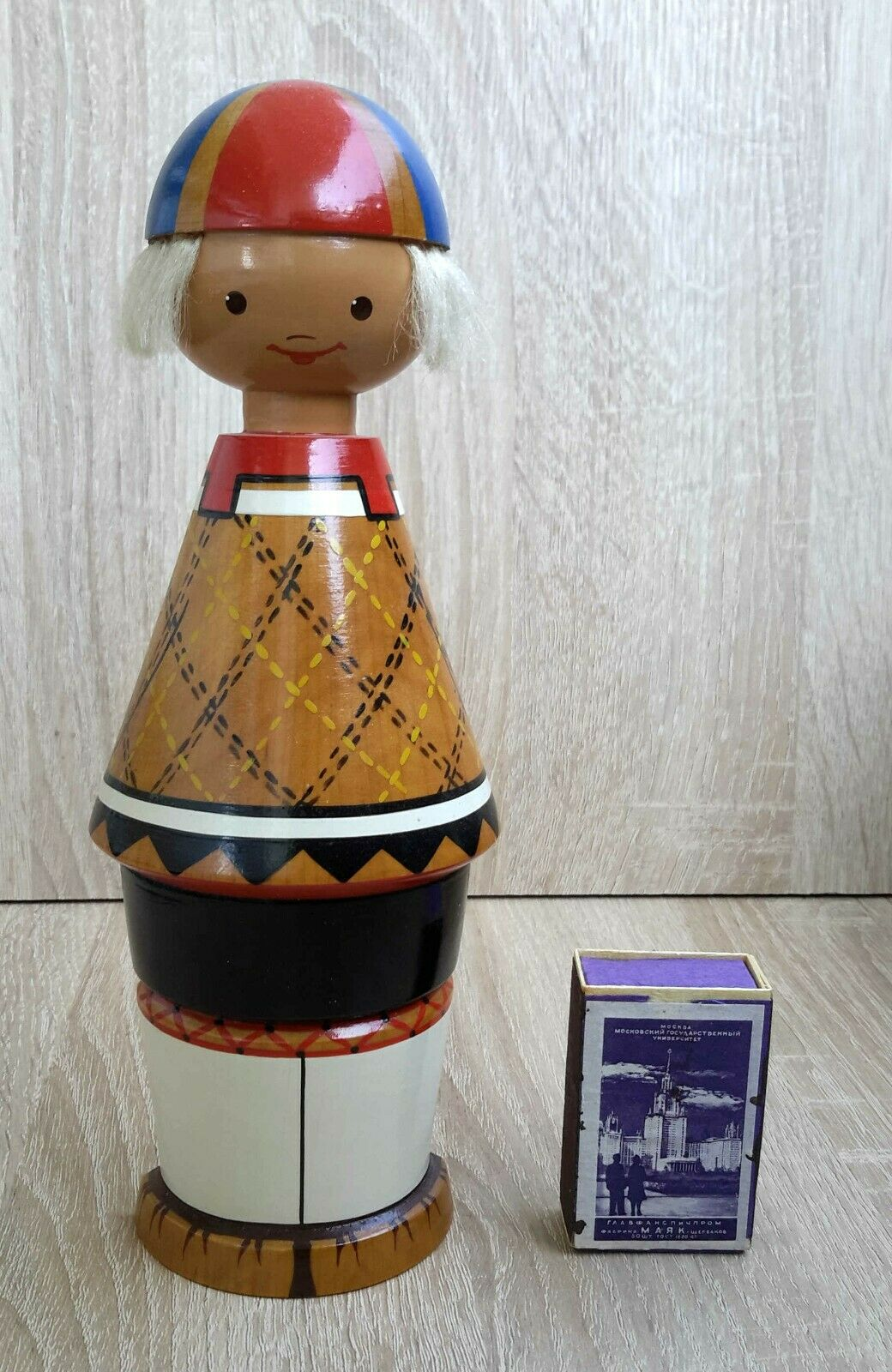 1960's USSR Estonia Muhu SALVO Wooden Wall Large Größe Doll FOLK Souvenir