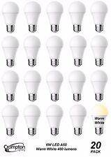 20 Pack Quality LED 6W Pearl Light Globes / Bulbs A60 GLS Edison Screw E27