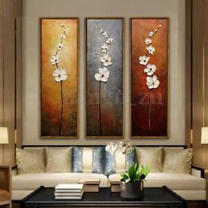 3pcs-Peinture-a-l-039-Huile-Tableau-Fleur-Abstraite-Art-Murale-sur-Toile-Sans-Cadre