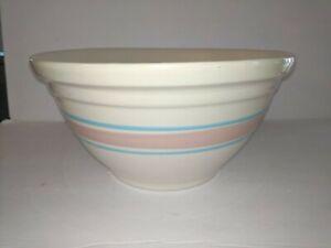 Vintage MCCOY POTTERY Blue Pink BAND Stripes #12 Mixing Bowl LARGE