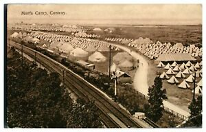 Antique-military-WW1-printed-postcard-Morfa-Camp-Conway-amp-train-railway-track