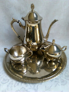 Vintage-Immaculate-Silver-Plated-Tea-Coffee-set-with-tray-in-orig-box-EPNS-A1