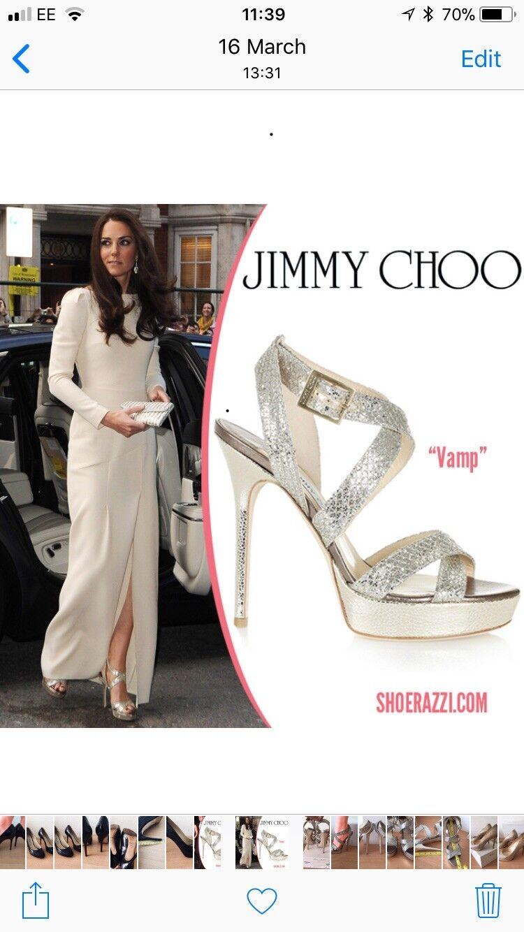 Jimmy Choo 39, Uk6 Uk6 Uk6 Plata Vamp zapatos, como se ve en  presentando toda la última moda de la calle