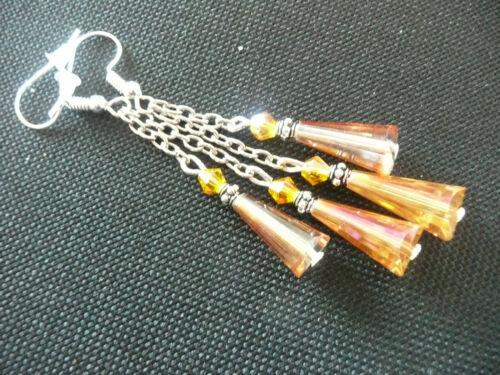 Vintage Art Deco Style Orange Czech Crystal /& Teardrop Glass Long Earrings Party