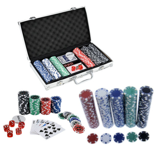 PROFESSIONAL 300//500//1000 PIECE TEXAS POKER CASINO GAME CARD SET WITH CASE 2 KEY