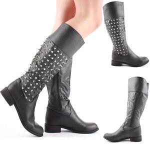 Ladies-Flat-Winter-Biker-Style-Low-Heel-High-Leg-Knee-Boots-Size-New