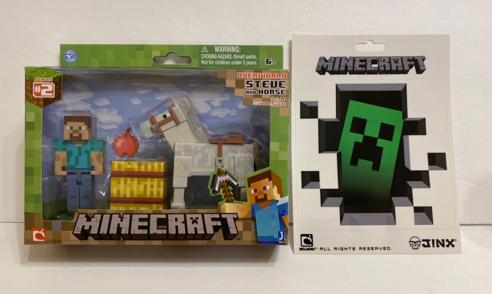 Jazwares Minecraft Steve With White Horse Action Figure Creeper Sticker 5 X5 For Sale Online
