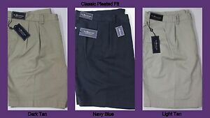NWT-85-Polo-Ralph-Lauren-Classic-Pleated-Chino-Khaki-Shorts-Mens-46-48-40T-NEW