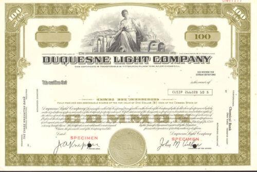 Duquesne Light Company /> Pennsylvania utility company olive stock certificate