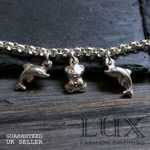 """Sterling Silver 925 7.5"""" Childrens Teddy & Dolphin Charm Bracelet Jewellery Gift"""