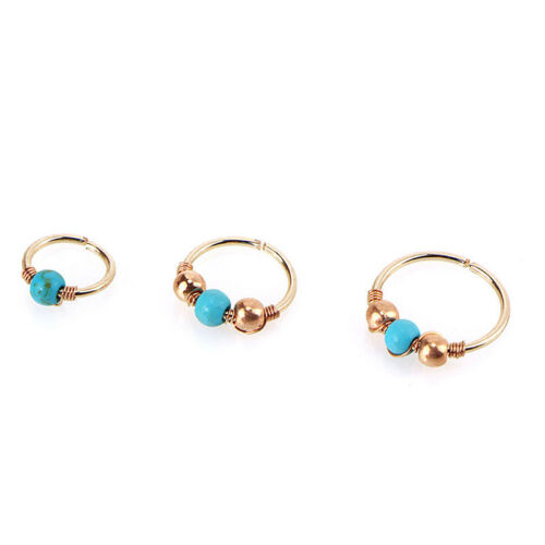 Stainless Steel Nose Ring Turquoise Nostril Hoop Earring Piercing Jewelry XR