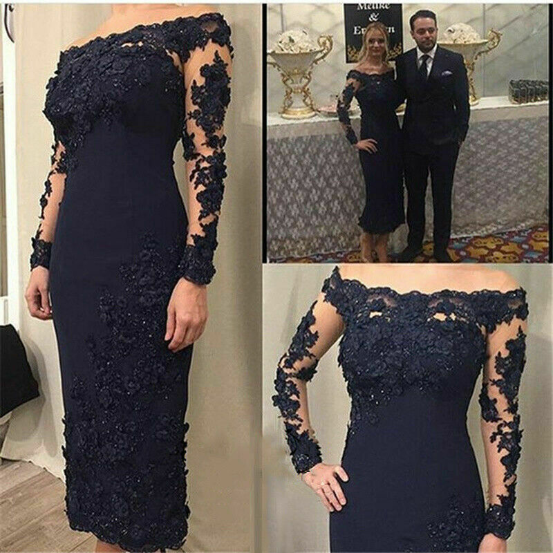Mother of the Bride Dress Navy Blue Off Shoulder Sheath Satin Ankle length Gowns