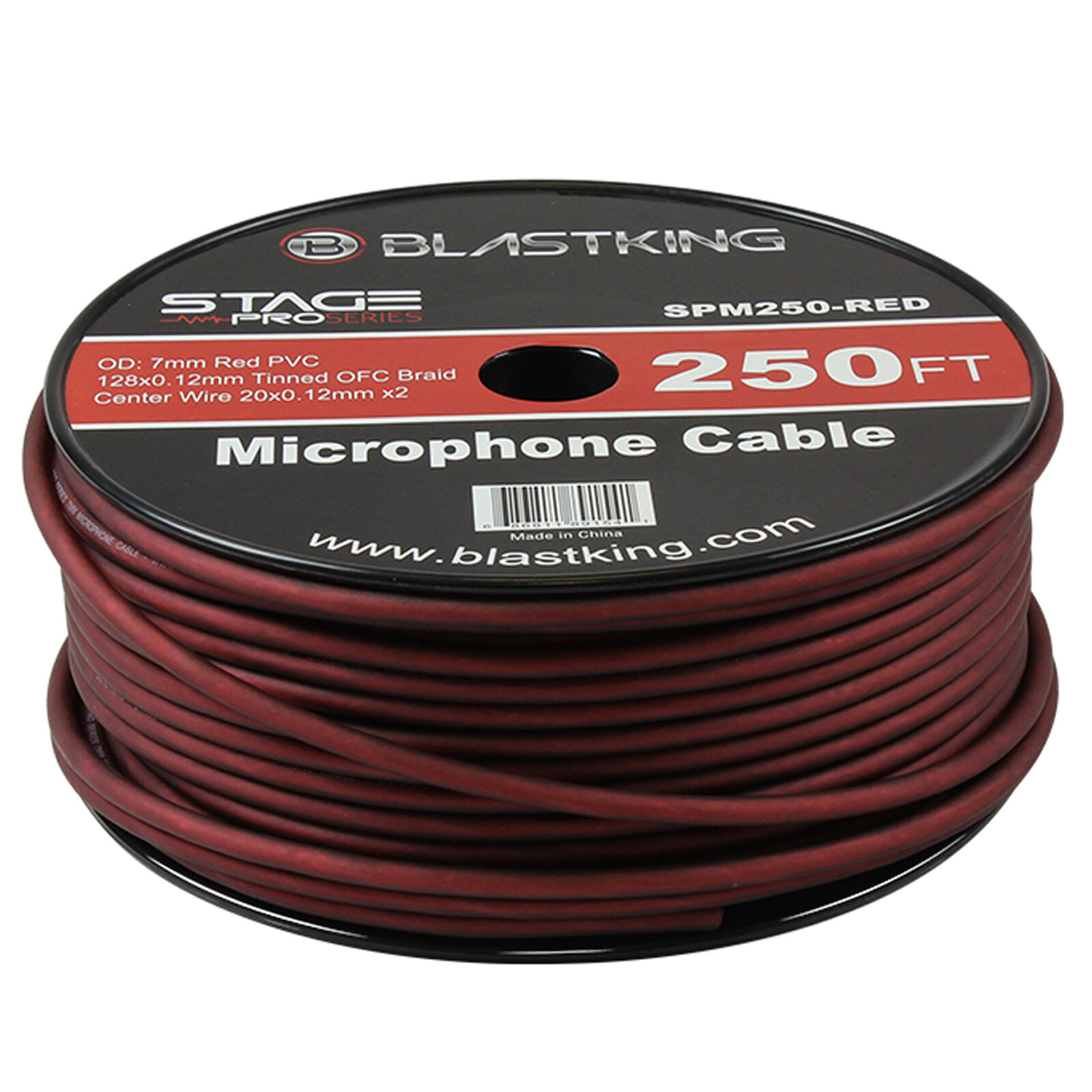 Blastking 2 Conductor OFC Microphone Mic Cable 250' Ft rot Bulk -SPM250-rot