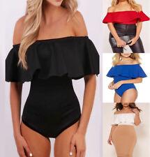 0045f85572 item 4 Womens Ladies Ruffle Frill Bardot Off Shoulder Leotard Bodysuit Top  Size UK 8-14 -Womens Ladies Ruffle Frill Bardot Off Shoulder Leotard  Bodysuit Top ...