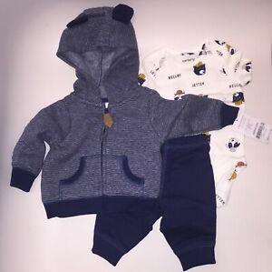 New-Carter-039-s-3-Piece-Baby-Infant-Dog-Jacket-Bodysuit-Pants-Set-Blue-New-Born