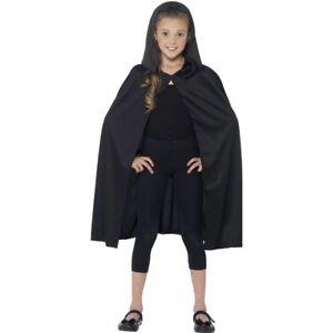 Black-Cape-With-Hood-Kids-Hero-Villian-Childrens-Fancy-Dress-Costume-Accessory