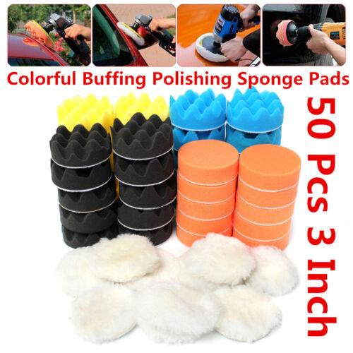 "50Pcs 80mm 3/"" Colorful Buffing Polishing Sponge Pads Kit For Car Truck Polisher"