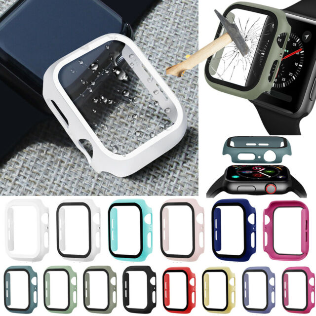 Apple Watch Series 5/4/3/2/1 Bumper Cover Case Tempered Glass Screen Protector