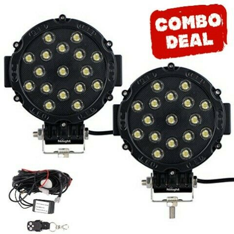 51 Watt Round Led Spot Light Black With Wire Loom And Remote COMBO
