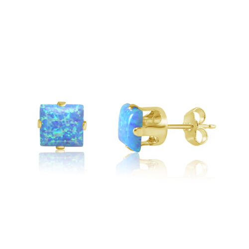 Opal Earrings in 14k Gold over Sterling Silver Square Stud 4mm or 5mm