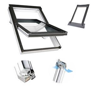 Schwingfenster-Fakro-66x140-PTP-V-U3-weis-Kunststofffenster-incl-Eindeckrahmen