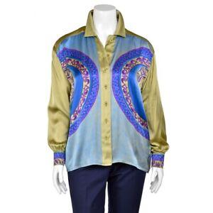 Escada-Light-Olive-Green-Turquoise-Print-100-Silk-Blouse-Shirt-Top-sz-42-12-US