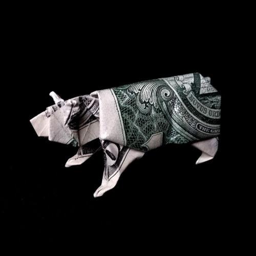Origami Dollar White Polar BEAR Home Decor Figurine Mini Sculpture Money Real $1