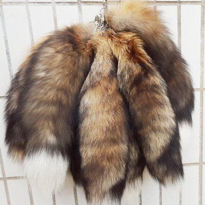 10pcs//lot Real Animal Luxury Natural Fox Tail Fur Keychains Tassel Bag Tag