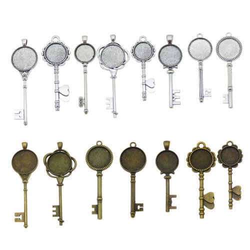 Vintage Metal Base Setting Bezel Frame Glass Cabochon Pendant Key Shaped Jewelry