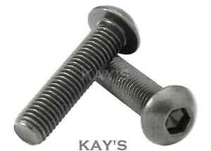 Button Head Screws Allen Socket Bolts Black M6 x 25mm High Tensile Grade 10.9