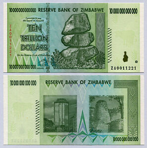 Image Is Loading Zimbabwe 10 Trillion Dollars Replacement Banknote Za 2008