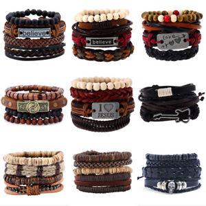 Mens-Womens-Stretch-Multi-Row-Leather-Bracelet-Surfer-Bead-Wristband-Black-Brown