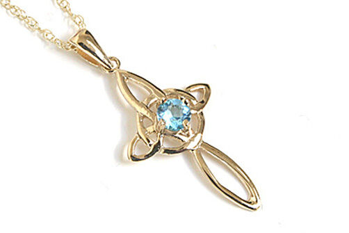 9ct gold bluee Topaz Celtic Cross Pendant and Chain Gift Boxed Made in UK