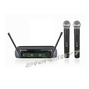 2x wireless microphone mic vhf cordless dj karaoke professional system 763684280365 ebay. Black Bedroom Furniture Sets. Home Design Ideas